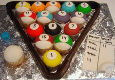 Cupcake Billiards by pinkcakebox games night pool table mens boys cupcake design idea birthday cake for guys