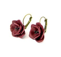 Ready to ship!- Vinous Terracotta Floral Earrings - Earrings with flowers - Polymer clay jewelry Handmade