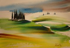 Urban Painting, Abstract Landscape Painting, Watercolor Landscape, Watercolour Painting, Landscape Art, Landscape Paintings, Art Journal Techniques, Watercolor Techniques, Acrylic Art
