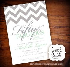 Surprise 50th Birthday Party Invitation with Chevron Mint and Grey.