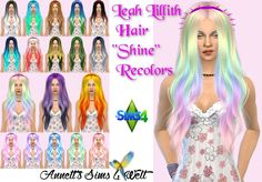 Leah Lillith Hair Shine Recolors at Annett's Sims 4 Welt via Sims 4 Updates
