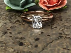 1.0 CT Emerald Solitaire Engagement Wedding Ring Solid 14k Rose Gold Bridal , Vintage Ring