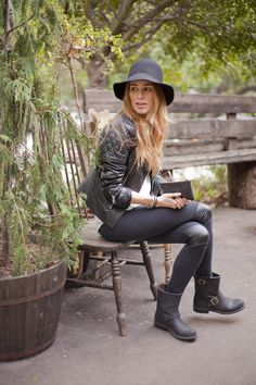 with a white tee, black hat, pleather patch leggings, and moto jacket // @dressmeSue pins hip outfits