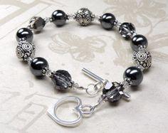 Ematite e Bali bracciale d'argento argento Casual di fineheart