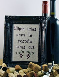 Necessary ingredient for a Whine and Cheese party. Cross Stitch Quotes, Cross Stitch Rose, Diy Embroidery, Cross Stitch Embroidery, Cross Stitch Designs, Cross Stitch Patterns, New Project Ideas, Crochet Cross, Cross Stitching