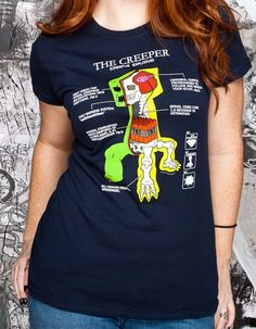 J!NX : Minecraft Creeper Anatomy Women's Tee - Clothing Inspired by Video Games & Geek Culture