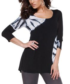 Another great find on #zulily! Black & White Tie-Dye Tunic by Belldini #zulilyfinds