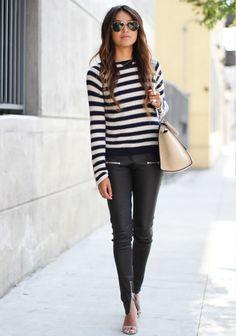 Pullover kombinieren: Süß mit Streifen, Leggings und Ballerinas