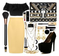 """Black n Yellow 🐝🌝🌚"" by marianandrwos ❤ liked on Polyvore featuring MAC Cosmetics, Bee Charming, Raoul, Jose & Maria Barrera, Alexander McQueen, Gorjana, Yves Saint Laurent, Dolce&Gabbana, Byredo and Philip B"