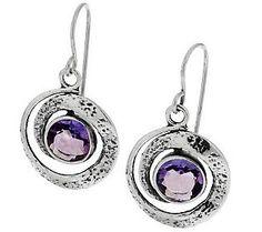 Or Paz Sterling Round Gemstone Swirl Drop Earrings