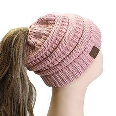 Hatsandscarf C.C Exclusives Messy Bun Ponytail Beanie Winter Hat a8725b5bff32