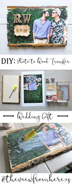 Cheap Wedding Gift Ideas - Photo-to-Wood Transfer Wedding Gift - DIY Wedding Gifts You Can Make On A Budget - Quick and Easy Ideas for Handmade Presents for the Couple Getting Married - Inexpensive Things To Make for Bride and Groom - DIY Home Decor, Wall Art, Glassware, Furniture, Tableware, Place Settings, Cake and Cookie Plates and Glasses diyjoy.com/...