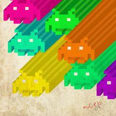 invaders by Chebi on DeviantArt Space Invaders, Cool Art, Awesome Art, Canvas Prints, Art Prints, Photo Canvas, Geek Stuff, Deviantart, Artist