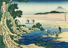 千絵の海 蚊針流 - Katsushika Hokusai,Fly - Fishing (Kabari - Nagashi) c 1832