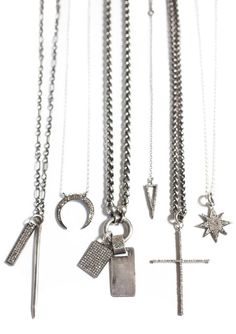 Assorted Diamond Pendant Necklaces, pave diamond encrusted tag spike dog tag triangle y necklace lariat cross star moon crescent drop choker by modernmama on Etsy https://www.etsy.com/listing/235737749/assorted-diamond-pendant-necklaces-pave