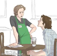 "my first Sabriel? If so, I'm sorry .... it has also begun now. This is soooooo cute!!!! ""Excuse me who you callin' waitress you arrogant dick"""