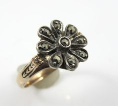 Victorian Gold Ring Cut Steel Flower 14K by TonettesTreasures
