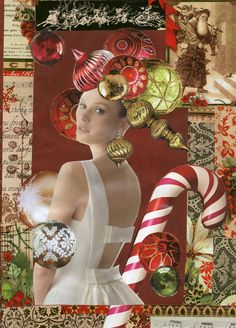 """""""Holiday Headdress"""" Collage art created from wrapping papers and fashion adds"""