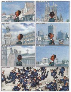 Barack Obama auf Reisen (by Gerhard Haderer)