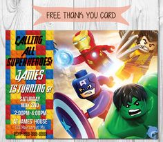 Lego #Marvel #Super #Heroes Invitation,  View more on the LINK: http://www.zeppy.io/product/gb/3/233076922/