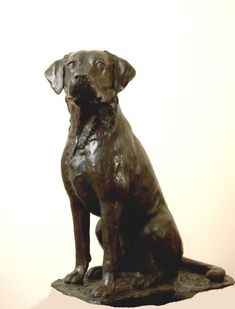 #Bronze #sculpture by #sculptor JOEL Walker titled: 'Great Loyalty (Bronze Labrador Dog sculptures statue)'. #JOELWalker
