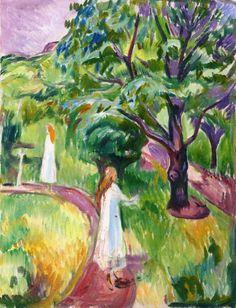 Two Women in White Dresses in the Garden Edvard Munch - 1919