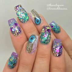 Peacock nail art designs depict beauty and elegance. The most beautiful thing about peacocks is that they have beautiful colorful feathers. Male peacocks tend to display these tail feathers to attract the eyes of female peacocks. Peacock Nail Designs, Peacock Nail Art, Cute Nail Designs, Fabulous Nails, Gorgeous Nails, Cute Nails, Pretty Nails, Fish Nails, Aquarium Nails