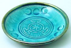 Hecate Wheel with Triple Moons Ceramic Offering Bowl in Turquoise