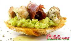 Originales Tapas de guacamole y jamón ibérico. Recetas de Cocina.