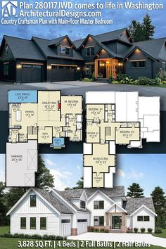 House Plan 280117JWD gives you 3800 square feet of living space with 4 bedrooms and 2 baths. AD House Plan #280117JWD #adhouseplans #architecturaldesigns #houseplans #homeplans #floorplans #homeplan #floorplan #houseplan New House Plans, Modern House Plans, Building Section, Building A House, Master Bedroom Plans, Plumbing Drawing, Open Concept Floor Plans, Floor Framing, Roof Detail