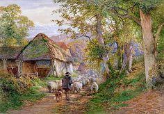 Charles James Adams (1859-1931). Victorian Painter ~ Shepard and His Flock