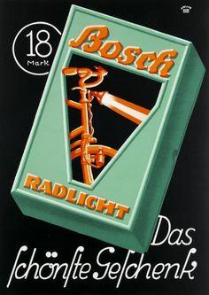 Lucian Bernhard (1883-1972, German-American), Bosch Radlight, 56.5 x 40.5 cm.