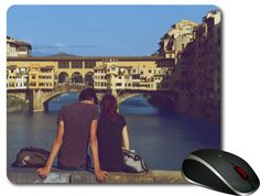 Romantic gifts. Ponte Vecchio Florence Italy A Love yong People Frainds or Couple lovers, Couple in love Amaizing Pretty Romantic Picture.  This is a nice Funny Computer Boy & girl friend Mouse Pad very suitable as a love lovely home or office gift.  This Meerkats MousePad can be used as a home decor as well as a office decor. Just as awesome as they are authentic, Your desk and mouse will feel love with these stylish, affordable, and comfortable.