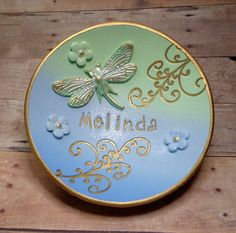 Excited to share the latest addition to my #etsy shop: Personalized Blue-Mint Dragonfly Ring Dish, polymer clay Jewelry Holder, Wedding Ring Dish Bridal, Birthday, Engagement Gift https://etsy.me/2HDJwZN #jewelry #giftsforher #Mothersday #personalized #ringdish #handma
