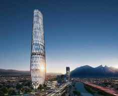 Image 18 of 20 from gallery of The Sordo Madaleno Arquitectos Project That Will Be The New Urban Icon of Monterrey. Photograph by Sordo Madaleno Arquitectos Building Costs, Mix Use Building, Tower Building, Building Facade, Green Building, Building Architecture, Building Plans, Sustainable Architecture, Sustainable Design