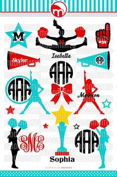 Cheer SVG Cut Files - Monogram Frames for Vinyl Cutters, Screen Printing, Silhouette, Die Cut Machines, & More