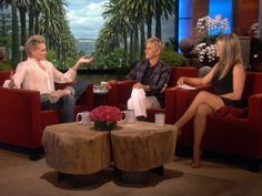 """""""Do you know how heartbroken I was when you sold that beautiful house to Ryan Seacrest?!"""" --Jennifer Aniston to Ellen and Portia"""