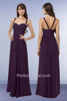Bill Levkoff Bridesmaid Dress 769 | Chiffon gown with a soft sweetheart neckline. Ruched criss cross bodice... $147