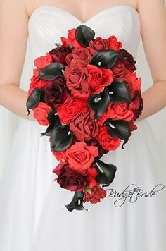 When it comes to picking wedding flowers, lots of bride-to-bes might understand the wedding flower they want in their own bouquet, but are a little mystified about the rest of the wedding event flowers required to submit the event and reception. Black Red Wedding, Red Wedding Flowers, Bridal Flowers, Flower Bouquet Wedding, Flower Bouquets, Black Calla Lily, Davids Bridal Gowns, Black Bouquet, Budget Bride