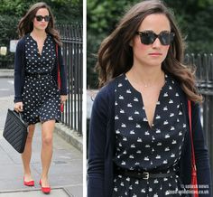 Love the dress + cardigan + pop of red with flats and purse!