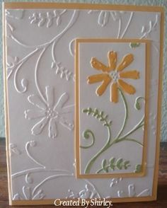 Love the use of the double embossing on this one. A framed and colored embossed image on the white, embossed card - djc: from Stamp Lounge Making Greeting Cards, Greeting Cards Handmade, Paper Cards, Diy Cards, Embossed Cards, Handmade Birthday Cards, Pretty Cards, Flower Cards, Creative Cards