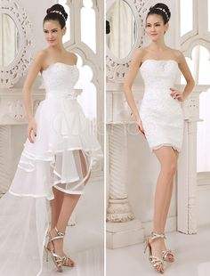 milanoo.com A-lien Strapless Two-In-One Wedding Dress with Panel Train
