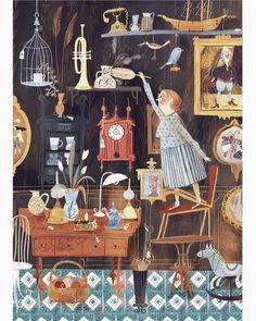 Adelina Lirius - Illustration - Martha's antique shop Best Sketchbook, Neoclassical Interior, Illustrators On Instagram, Children's Book Illustration, Illustration Children, Book Illustrations, Character Illustration, Antique Shops, Antique Art