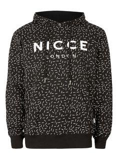 NICCE Black and White Chalk Stroke Hoodie - Men's Hoodies & Sweats - Clothing - TOPMAN EUROPE