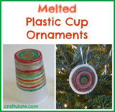 Melted Plastic Cup Ornaments from Craftulate