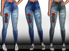 Designer Ripped Applique Jeans 3 colours by Saliwa Found in TSR Category 'Sims 4 Female Everyday'