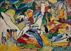 "Collection Online | Vasily Kandinsky. Sketch for ""Composition II"" (Skizze für ""Komposition II""). 1909–10 - Guggenheim Museum"