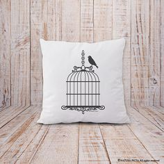 Birdcage pillow-birdcage cushion cover-french by naturapicta