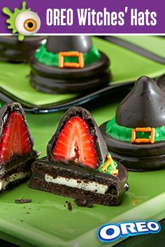 These bewitching OREO Witches' Hats are a wickedly tasty treat and the recipe is easy! Dip OREO cookies in chocolate and add a chocolate-covered strawberry on top. Say the magic words and presto! Visit GhostessParty.com for more recipes, Halloween party ideas & printables.