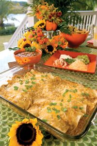 I love these enchiladas from Paula Deen. I can't find canned tomatillos in my market so I use green sauce (salsa). These are a must try!